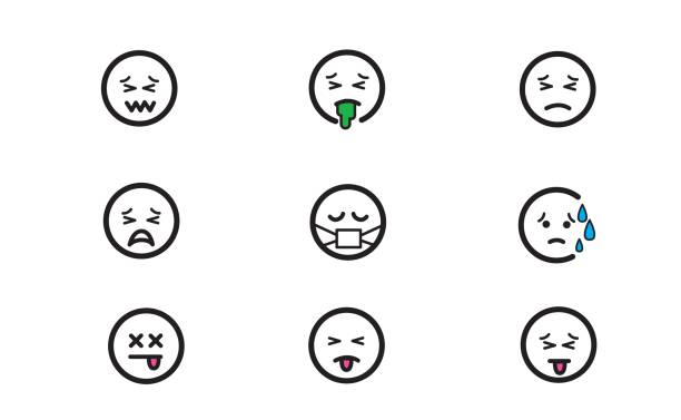 Emoticons set 6 vector art illustration