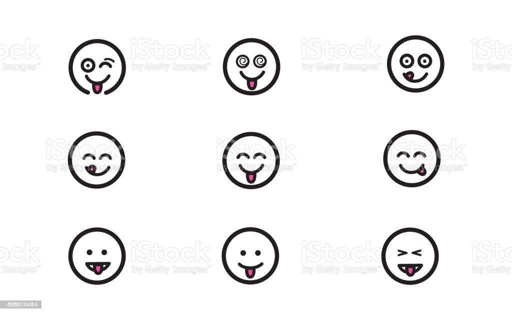 Emoticons set 9 vector art illustration