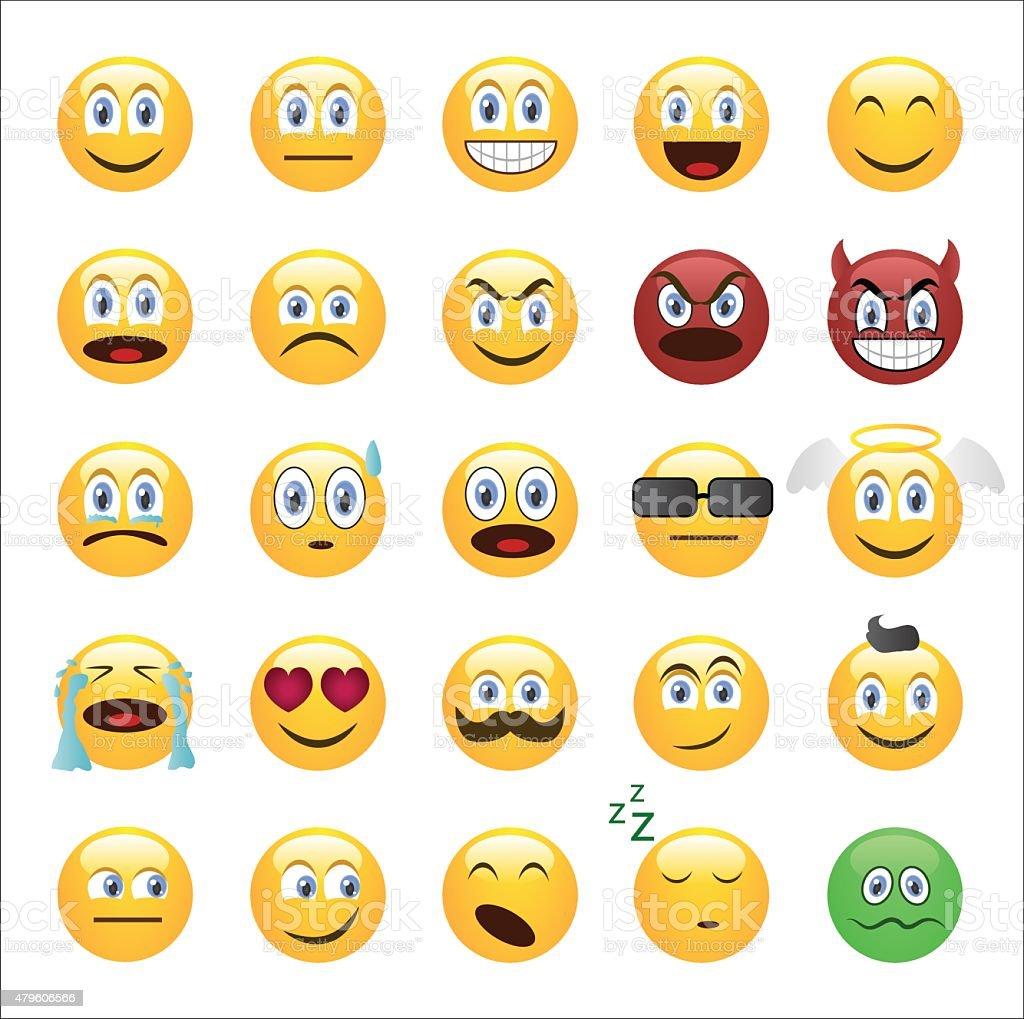 Emoticons set cartoon style vector art illustration