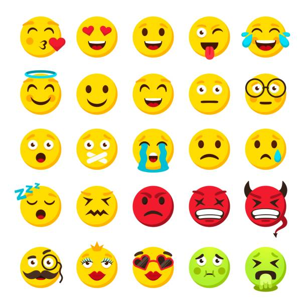 emoticons set. emoji faces emoticon funny smile vector collection - tears of joy emoji stock illustrations