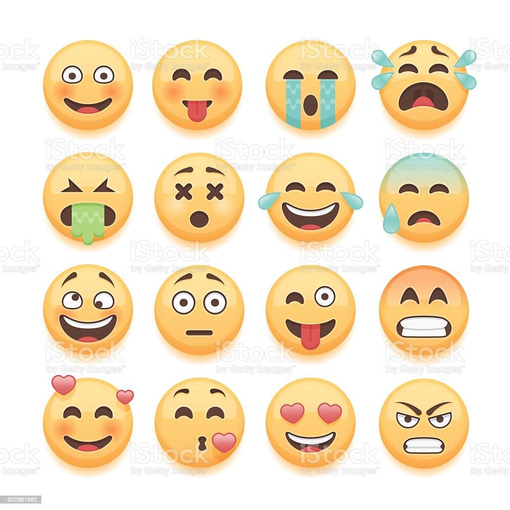 Conjunto de emoticons mensagem conjunto, biscoito em formato de carinhas sorridentes collection. - ilustração de arte em vetor