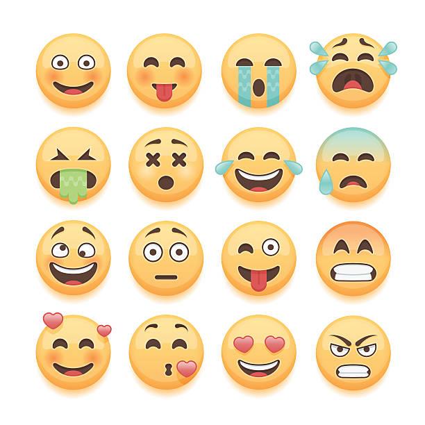 ilustrações, clipart, desenhos animados e ícones de conjunto de emoticons mensagem conjunto, biscoito em formato de carinhas sorridentes collection. - emoji de lágrimas de alegria