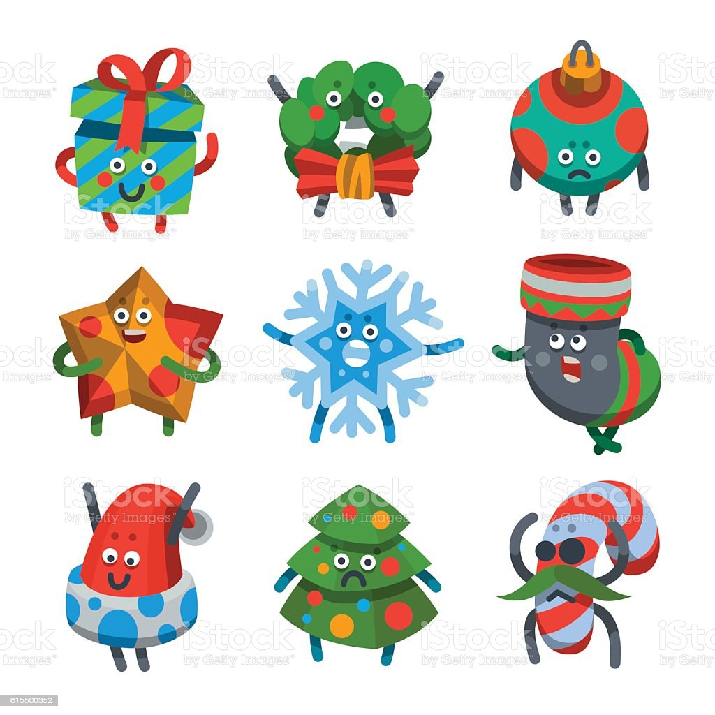 Emoticons set icons for happy new year theme vector art illustration