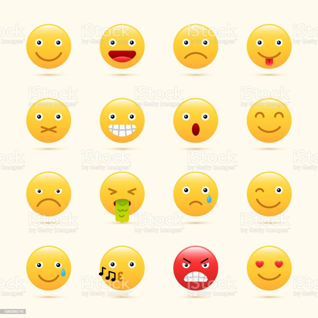 Emoticons set, yellow website emoticons vector art illustration