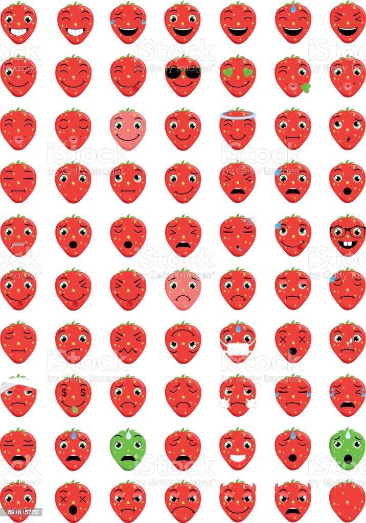 Emoticons Strawberry vector art illustration