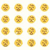 A set of 16 emoticons.