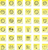 Group emoticons, are drawn on a sticky note