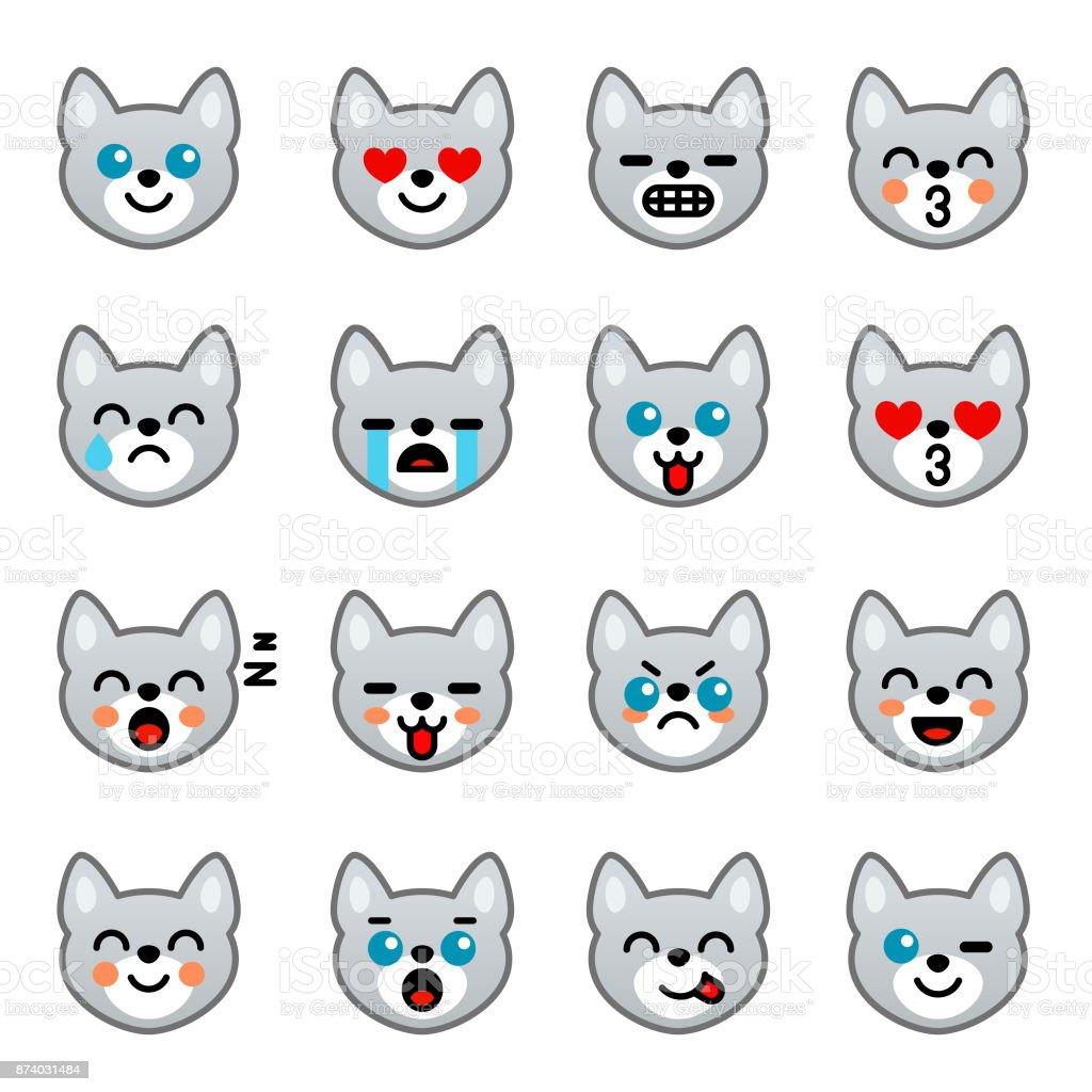 Ilustración de Emoticonos Con Perros Para Redes Colección De Emoji ...