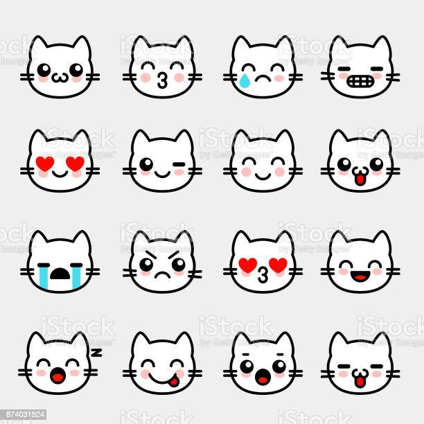 Emoticons with white kitten emoji collection for chat vector set vector id874031524?b=1&k=6&m=874031524&s=612x612&h=iti6065spmqwz5scdri1nlk4nrmsv4blixmy2l1oucg=