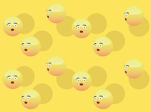 3D Emoticons Wow Head Vector Seamless Background Wallpaper-01