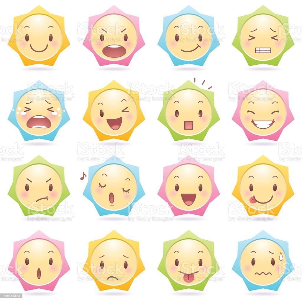 Emoticons_star shape royalty-free emoticonsstar shape stock vector art & more images of anger