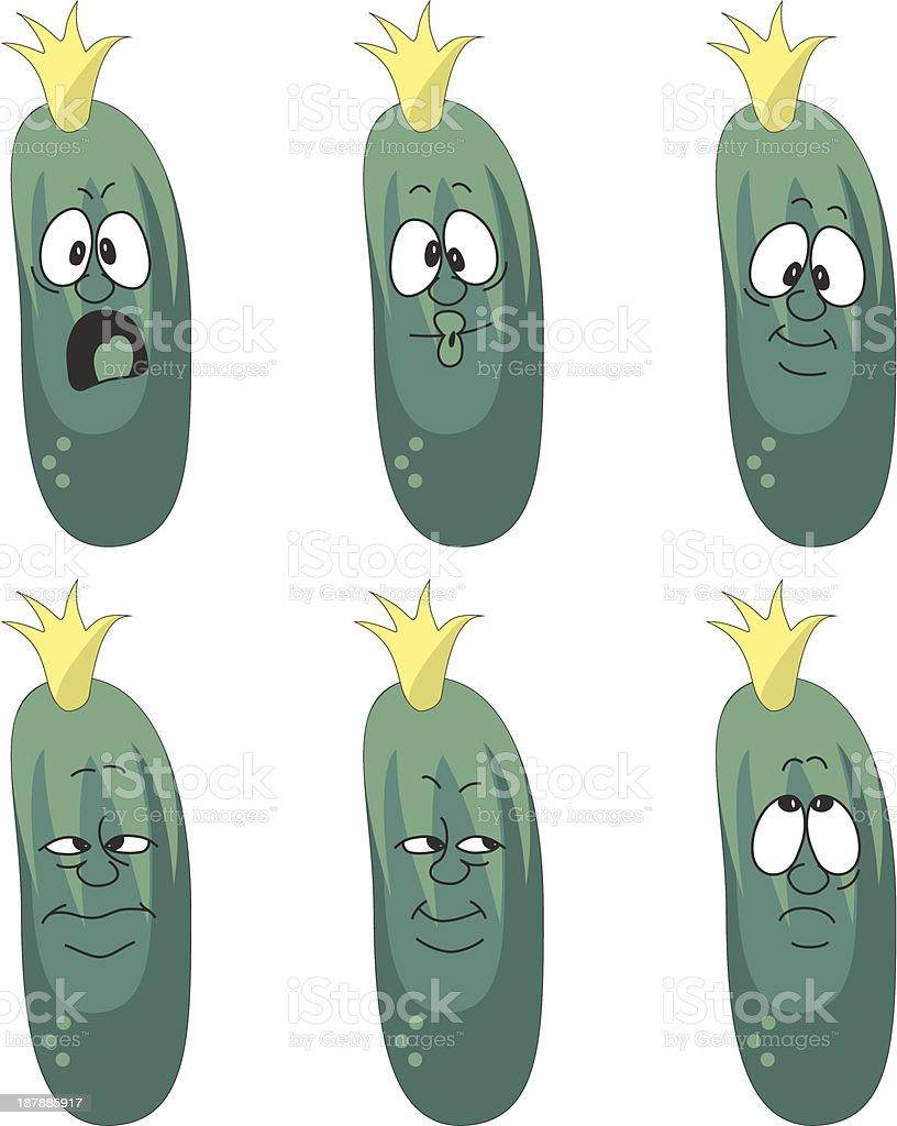 Emotion cartoon green cucumber vegetables set 006 royalty-free stock vector art