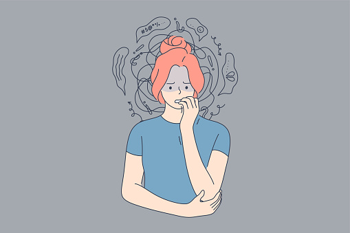 Emotion, face, expression, frustration, panic attack, mental stress, anxiety concept. Young anxious worried woman girl teenager character looking stressed and nervous with hands on mouth biting nails.