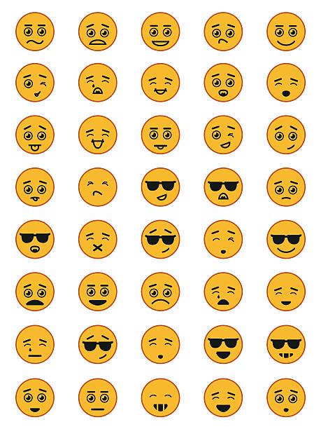 emotion face icon set - tears of joy emoji stock illustrations, clip art, cartoons, & icons