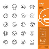 Emoji & Emoticon related single line icons pack.