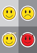 a range of flat vector illustrations of various emoticons