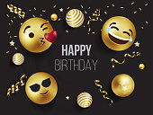 Emotion Happy Birthday party banner, invitation, smily faces