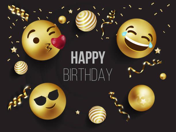 illustrations, cliparts, dessins animés et icônes de bannière du parti émotion joyeux anniversaire, invitation, visages souriants - ballon anniversaire smiley