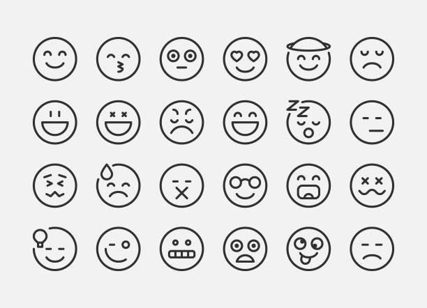 Emotion Icons - Line vector art illustration