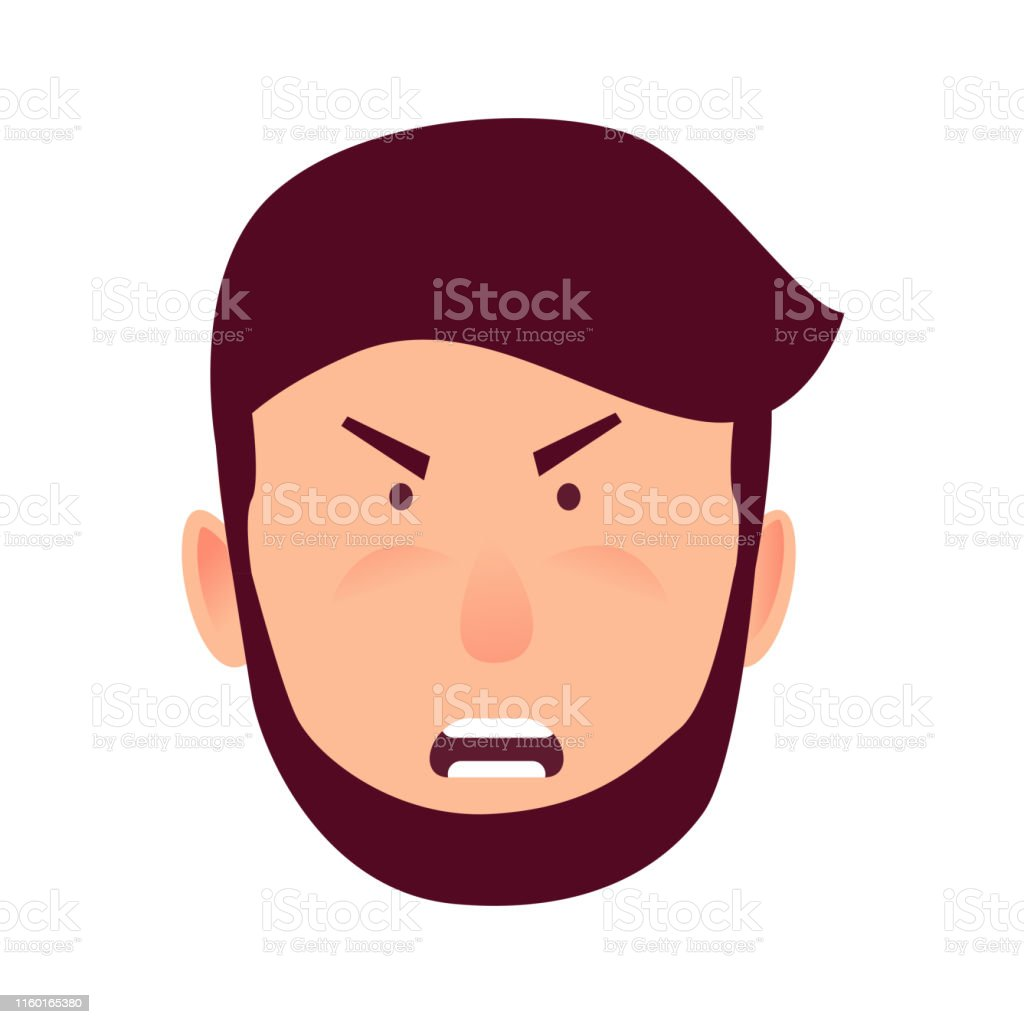 Angry male cartoon character vector illustration. Bearded man with...