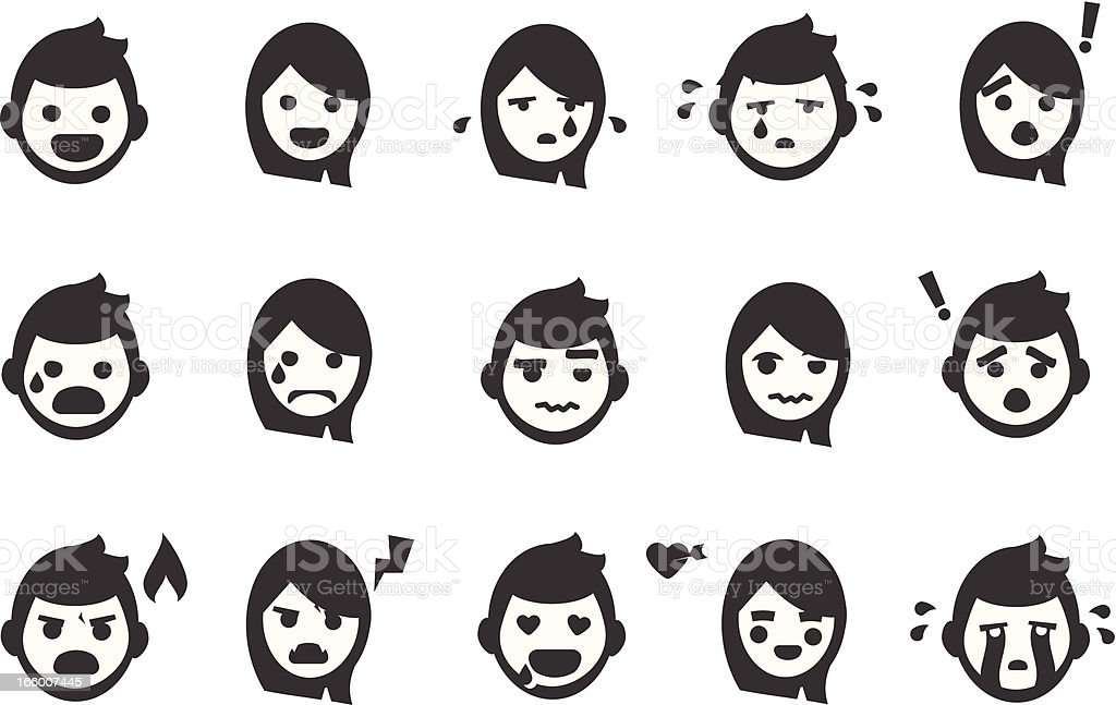 Emotion People Icons vector art illustration