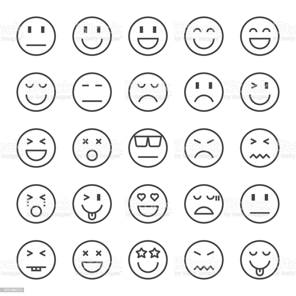 emotion pixel perfect icons vector art illustration