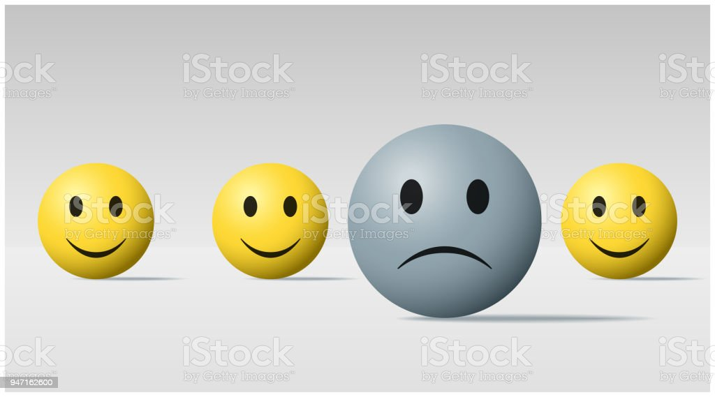 Emotional background with sad face ball among happy face balls , vector , illustration emotional background with sad face ball among happy face balls vector illustration - immagini vettoriali stock e altre immagini di affranto royalty-free