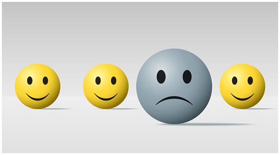Emotional Background With Sad Face Ball Among Happy Face Balls Vector Illustration - Immagini vettoriali stock e altre immagini di Affranto