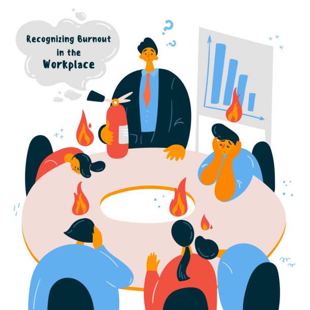 patronlarıyla duygusal tükenmişlik ofis çalışanları. - burnout stock illustrations