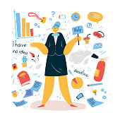 Emotional burnout woman is standing with a sign Help.Tired and exasperated office worker does not know what to do among documents and office supplies.Stress at work.Vector illustration