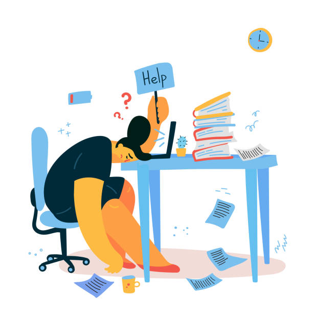 Emotional burnout woman sitting at her desk Emotional burnout woman sitting at her working place with computer in office and holds the sign Help,tired businesswoman with low battery,emotional burnout concept.Hard work.Vector illustration mental burnout stock illustrations