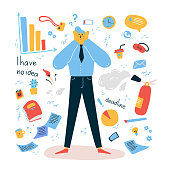 Emotional burnout man grabbed his head .Tired and exasperated office worker does not know what to do and emotionally burned out among documents and office supplies.Stress at work.Vector illustration