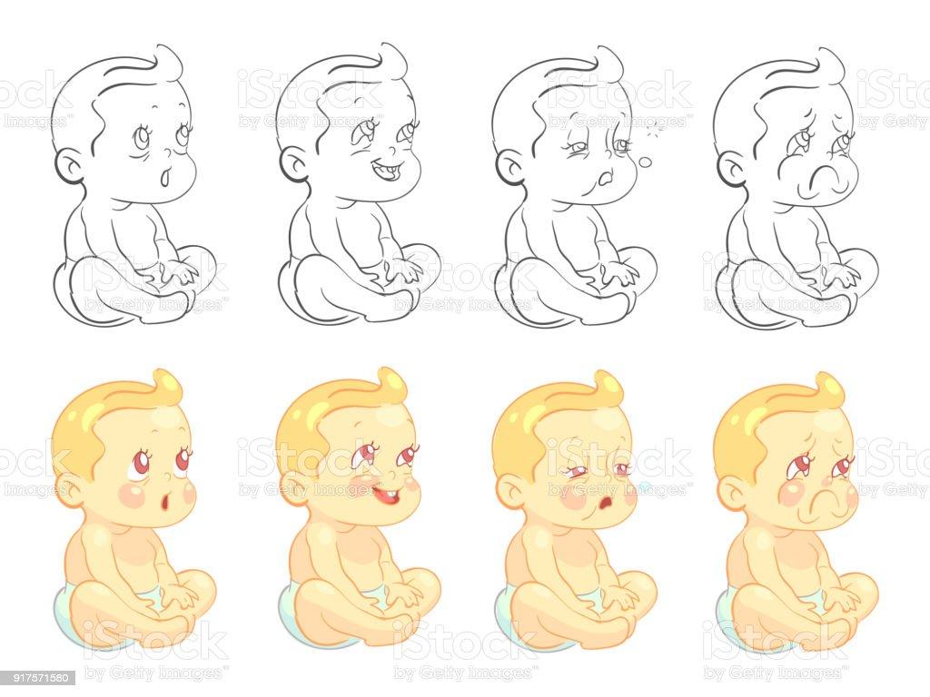 Emotionale Niedlichen Baby Malvorlagen Mit Proben Isoliert Auf