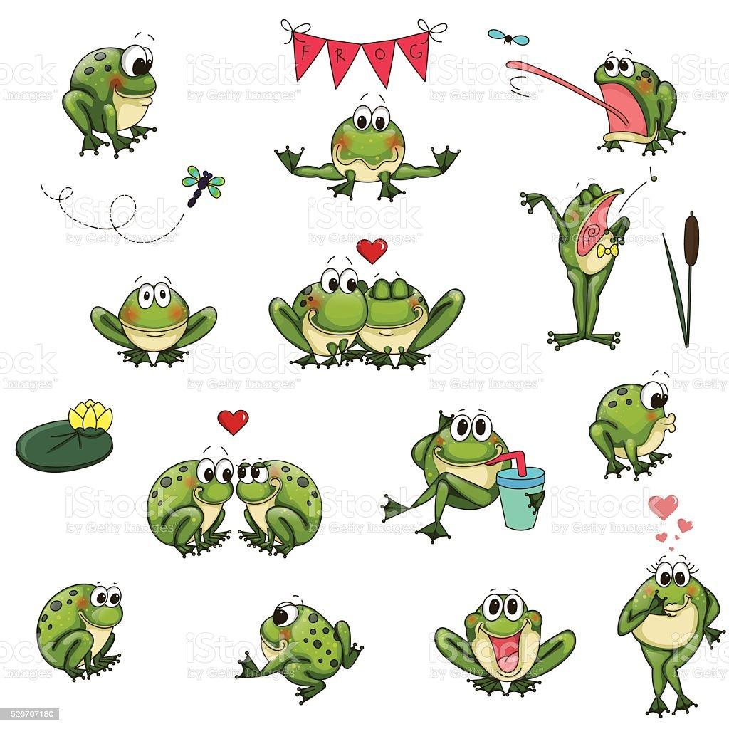 emotional cute frogs cartoon character vector set stock