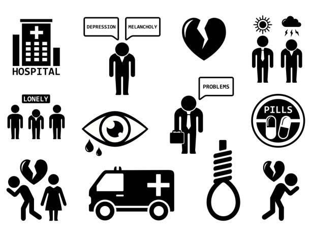 stockillustraties, clipart, cartoons en iconen met emotionele stoornissen concept pictogramserie - zelfmoord