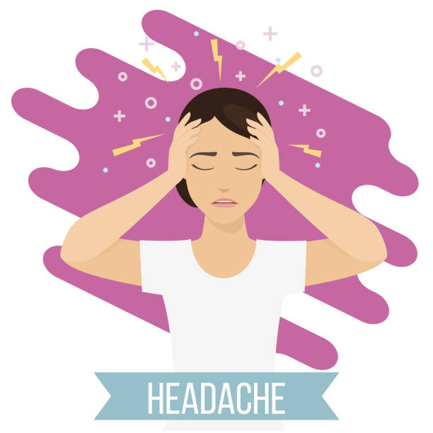 Emotional health concept Woman suffers from headache and migraine. Female feels pain in her head. Vector headache stock illustrations