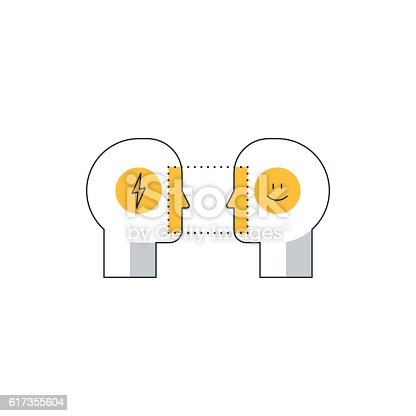 Human psychology and communication, linear design vector illustration
