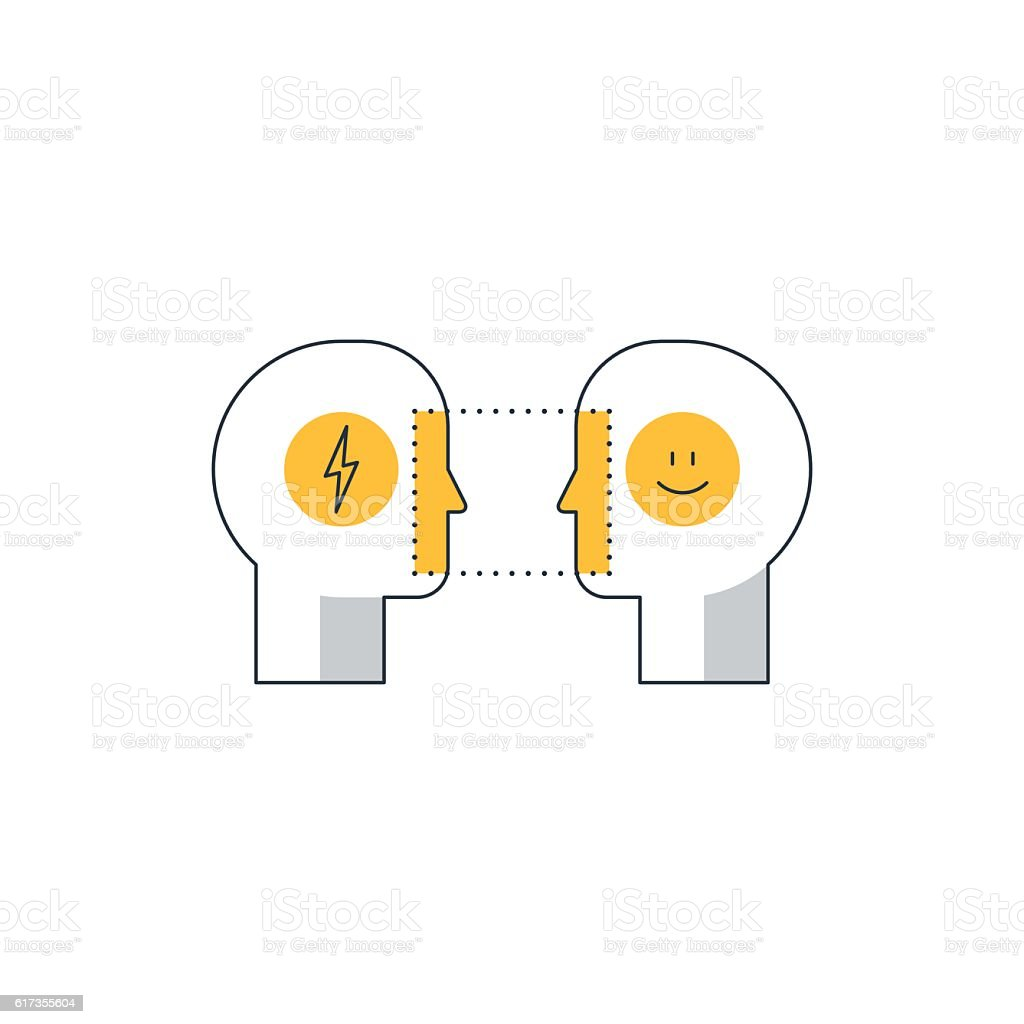 Emotional intelligence concept, psychology communication, mind science, reasonin vector art illustration