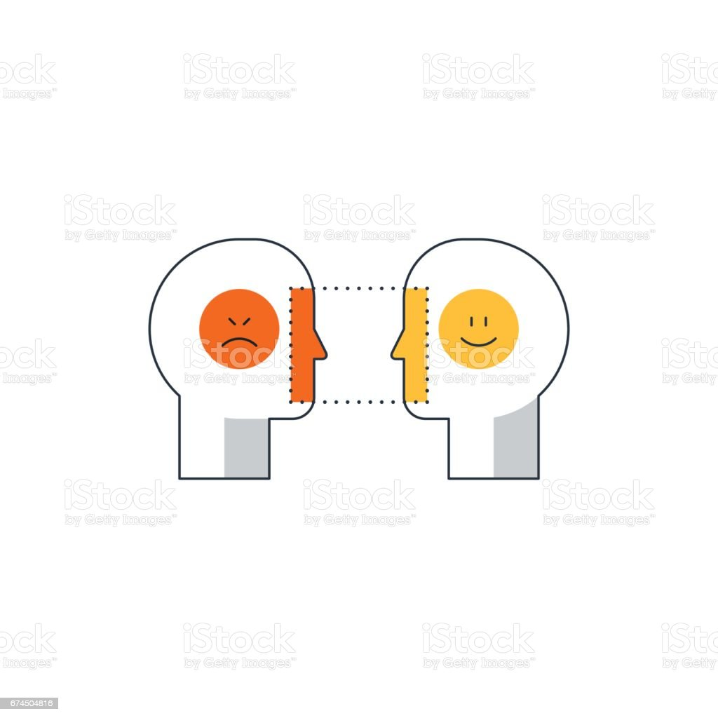Emotional intelligence concept, psychology communication, mind science, reasonin vector art illustration