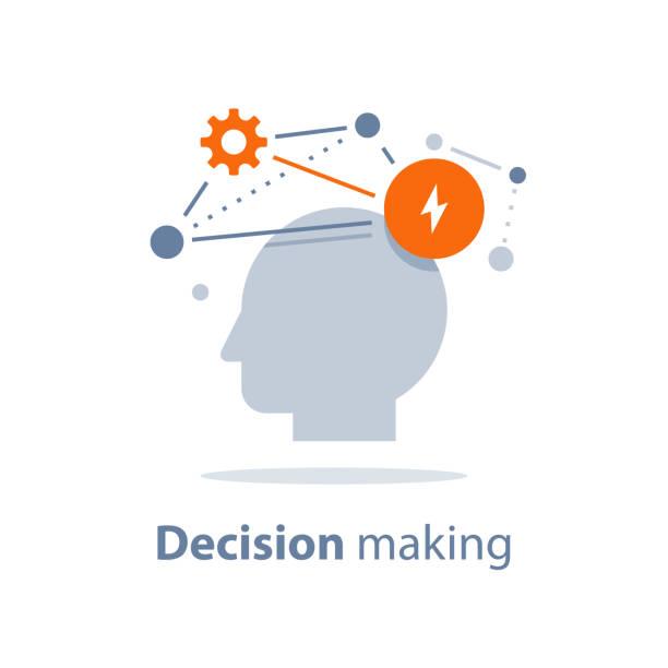 Emotional intelligence, decision making, positive mindset, psychology and neurology, behavior science, creative thinking vector art illustration