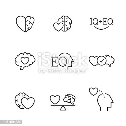 Emotional Intelligence EQ vector line icons