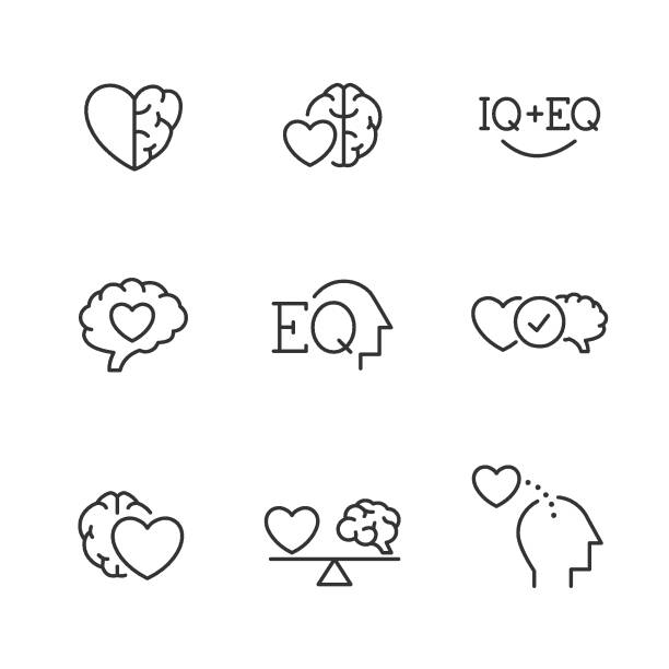 Emotional Intelligence EQ icons Emotional Intelligence EQ vector line icons comfort stock illustrations