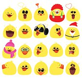 Emotions. A large set of emotions chicken. Cartoon characters. Vector