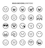 Emotions, bold line icons. The illustrations are a vector, editable stroke, 48x48 pixel perfect files. Crafted with precision and eye for quality.