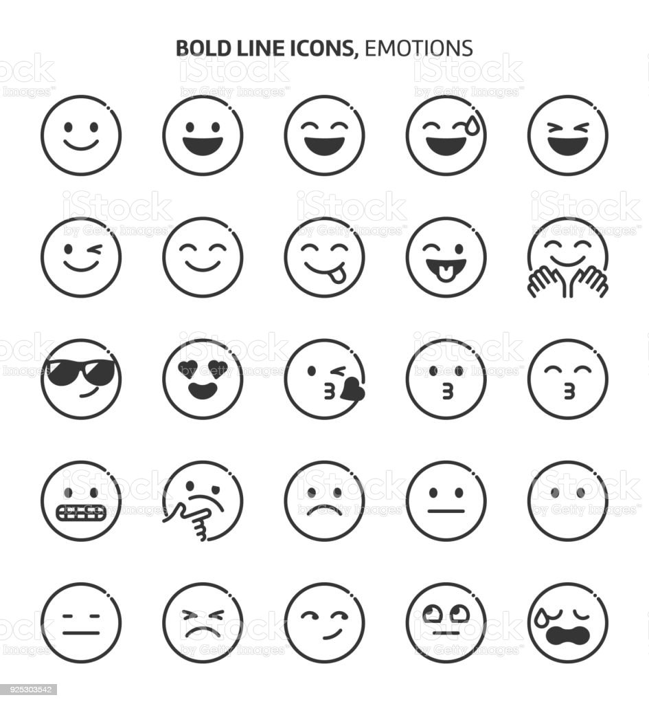 Emotions, bold line icons vector art illustration