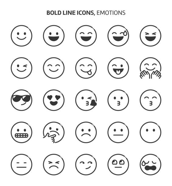 emotions, bold line icons - happy emoji stock illustrations, clip art, cartoons, & icons