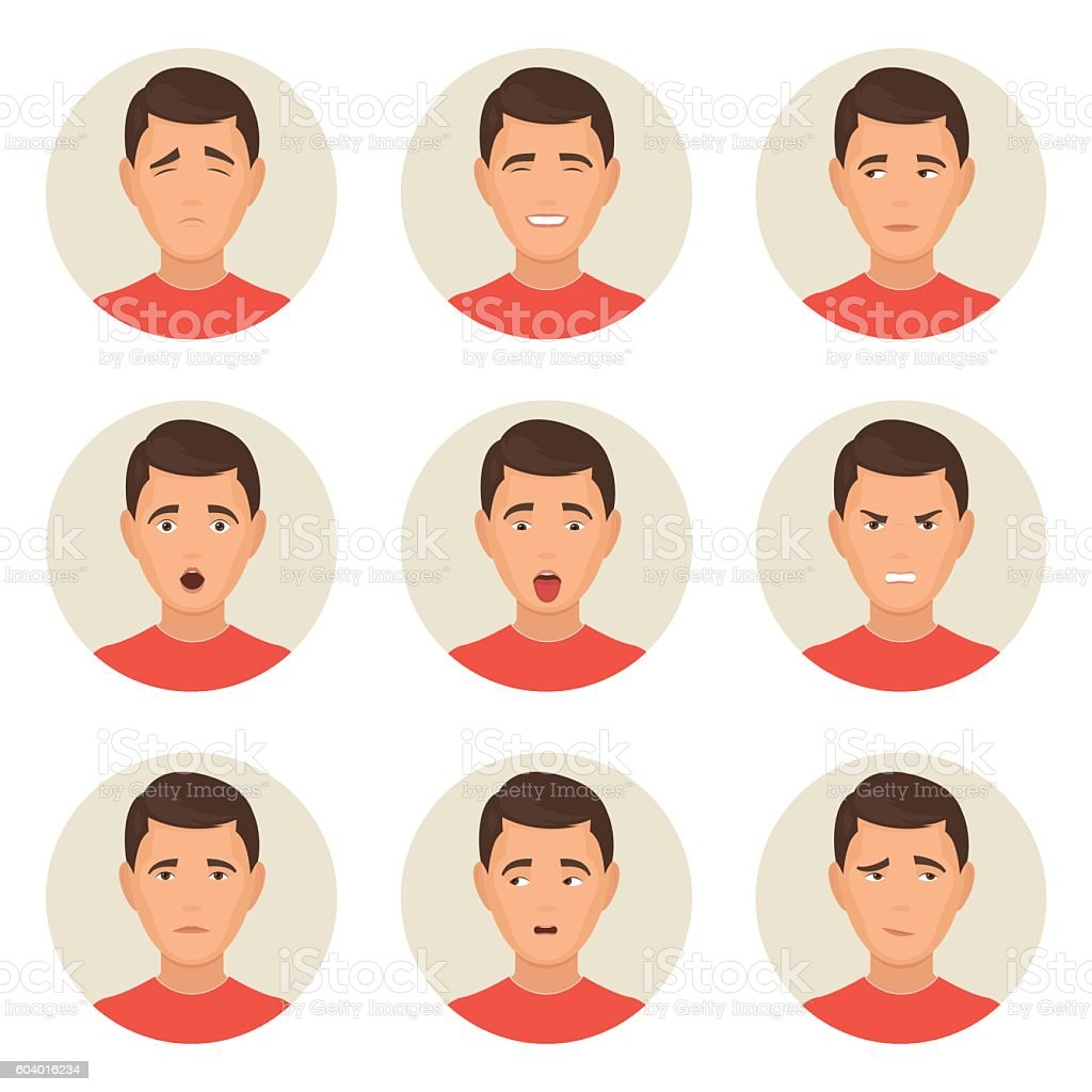 Emotions faces characters vector art illustration