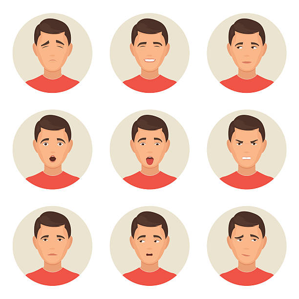 emotions faces characters - part of a series stock illustrations, clip art, cartoons, & icons
