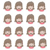 emotions faces vector characters