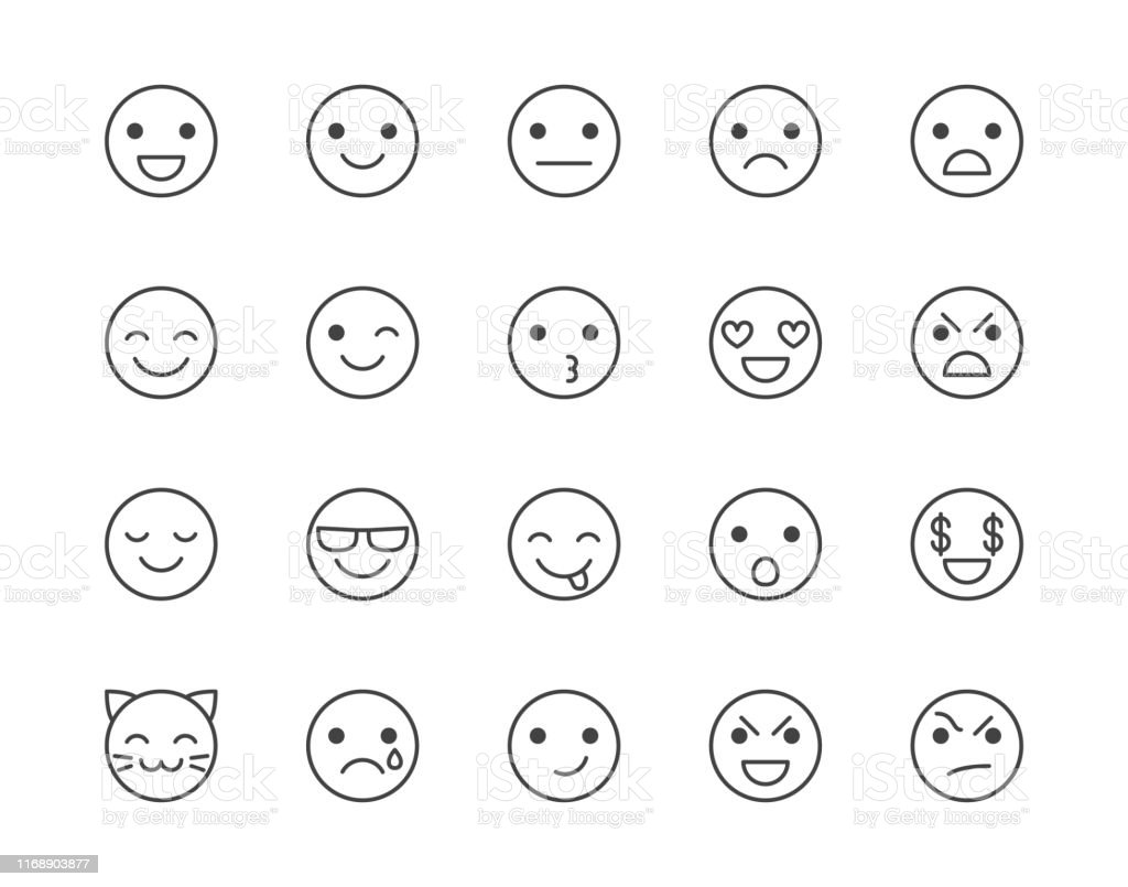 Emotions flat line icons set. Happy face, sad, anger, smile, facial...